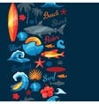 Seamless pattern with surfing design elements and vector image