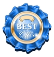 Blue best offer badge with gold border vector image vector image