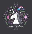 christmas card with unicorn vector image