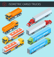 isometric cargo trucks vector image