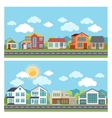banners with cottage houses in flat design vector image vector image