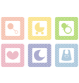 sweet pastel icons with polka dot vector image vector image