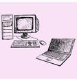 desktop computer and laptop vector image