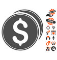 dollar coins icon with lovely bonus vector image