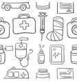 doodle of various medical object style vector image