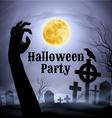 Halloween party on a spooky graveyard under full m vector image