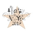 hand drawn lettering Happy New Year 2017 vector image