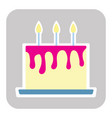 playful birthday cake with candle vector image