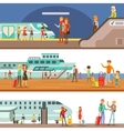Smiling People Boarding Different Transport Metro vector image