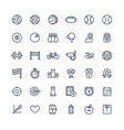 thin line icons set with sport and fitness vector image