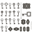 Vintage keys and keyholes big set vector image