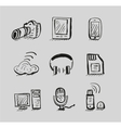 Hand drawn mobile devices black icon set vector image vector image
