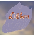 Stylized decorative map of Lisbon on a blurry vector image vector image