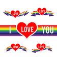 Happy Valentine Heart and Rainbow Ribbon 001 vector image
