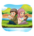 Muslim boy and girl reading in the park vector image vector image