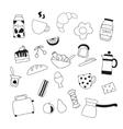 assortment of doodle food for breakfast vector image