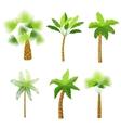Decorative palm trees icons set vector image