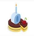 Digital zero birthday chocolate cake Zero with vector image