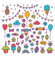 hand drawn party set of celebration objects vector image