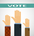 Hands raised up for a vote vector image