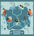 school color isometric concept icons vector image