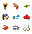sport activity icons set cartoon style vector image