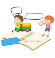blank notebook with two boys reading vector image vector image