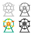 ferris wheel icon in cartoon style isolated on vector image