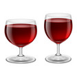 two glasses of red wine on white background vector image vector image