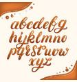 hand written lowercase alphabet made of caramel vector image