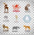 animals flat style logos set vector image