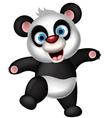 panda cartoon dancing vector image vector image