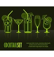Set of cocktail silhouettes vector image vector image