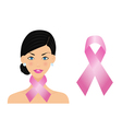 woman with cancer ribbon vector image vector image