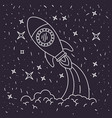 black background with hand drawn space rocket vector image