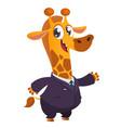 cartoon brown giraffe dressed up in office suit vector image