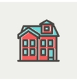 House with chimney thin line icon vector image