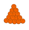 pile basketball isolated lot of balls for games vector image