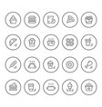 set round line icons of fast food vector image