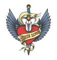winged heart pierced by dagger vector image