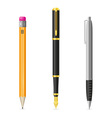 set icons pen and pencil 01 vector image