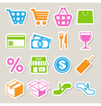 Shopping sticker icons set eps 10 vector image