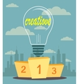 Creative ideas proudly standing on the winning vector image