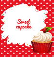 Cupcake with rasberry topping vector image