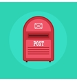 Vintage red Mail box post icon Flat design vector image