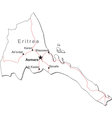 Eritrea Black White Map vector image vector image