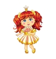 Cute little princess in a yellow dress vector image