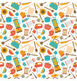 cute seamless pattern with kitchen tools cooking vector image