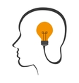 head with lightbulb icon vector image