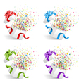 open gift with fireworks set vector image